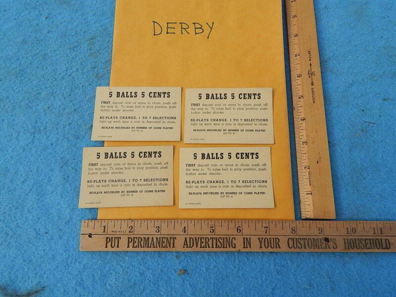 1941 Bally DERBY Instruction & Award Cards - 4 each