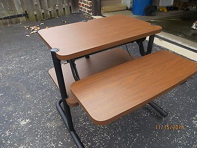 Anthro Cart - Mobile Adjustable Desk Computer Workstation Table Office Rolling
