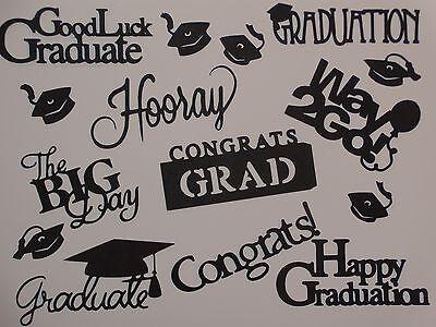 9 graduation sentimental words 6 confetti grad caps die cut die cuts