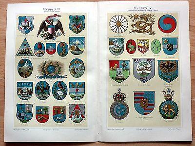 Wappen - Amerika, Asien, Afrika. Alte Farblithographie (um 1905) Sehr dekorativ!