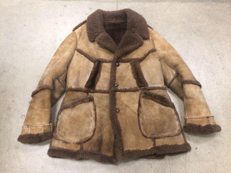 Vintage Moneli Mariasini Shearling Lambskin Jacket Bane Coat Men's 46 Brown