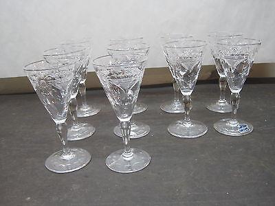 Antique/Vintage Stemware Royal Brierley  Glasses England 10 Cordials