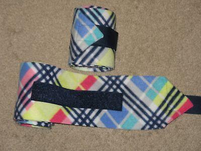 NEW set of 2 rainbow plaid horse polo wraps (horse/pony leg wraps)