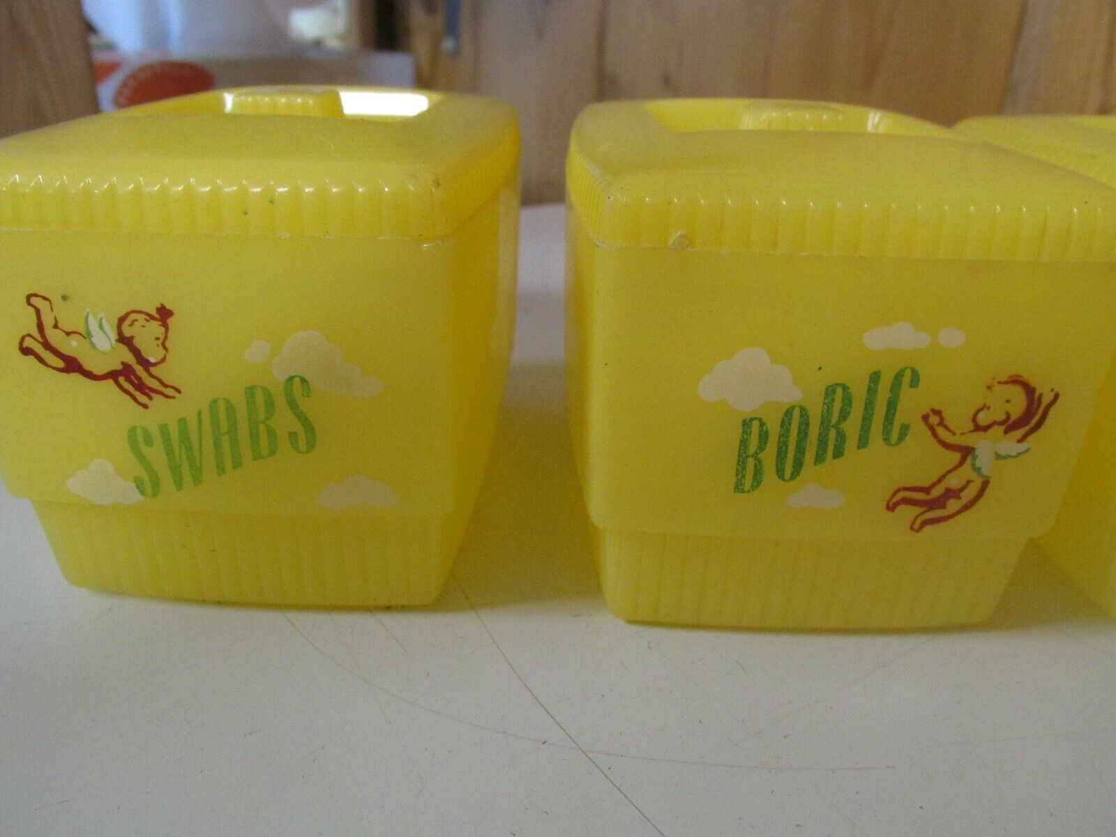 Clarolyte VINTAGE 1950s YELLOW PLASTIC BABY NURSERY CONTAINERS  - $14.99