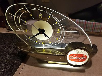 Vintage mid century 1960s Schaefer Beer Sail Boat Clock and Light. WORKING