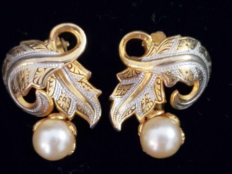Vintage Damascene Leaf & Faux Pearl Clip Earrings