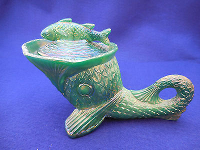 KEMPLE DOLPHIN COVERED DISH IRIDESCENT BLUE GREEN MILK GLASS AS IS