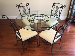 Bombay Company Wrought Iron/Glass Dining Table Set