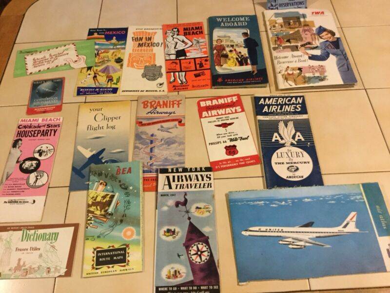 Vintage Airlines Travel Brochure & Paper Lot American Mexico TWA BEA 40s-60s(DB)