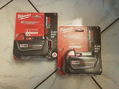 NEW Milwaukee 2 Pack M18 RED LITHIUM ION XC 18 VOLT 5.0 Ah  Capacity 48-11-1850