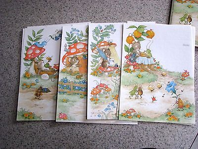 Pam Peltier Tiny Tales Just-a-Note Asst-(11) mice, toadstools, bugs-Current-1980