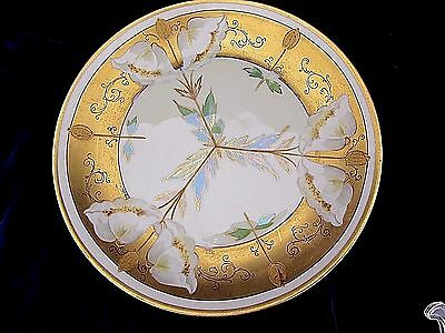Antique WA PICKARD 1912-1918 Hand Painted China Gilded Gold and Floral Plate 9""