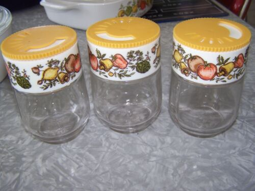 3 Vintage Corning Ware Glass GEMCO SPICE OF LIFE Jar Spice Shakers