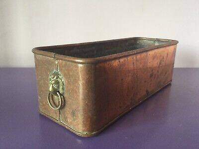 Vintage Copper & Brass Planter Plant Pot. .Window Sill Trough. Lion Head Handles