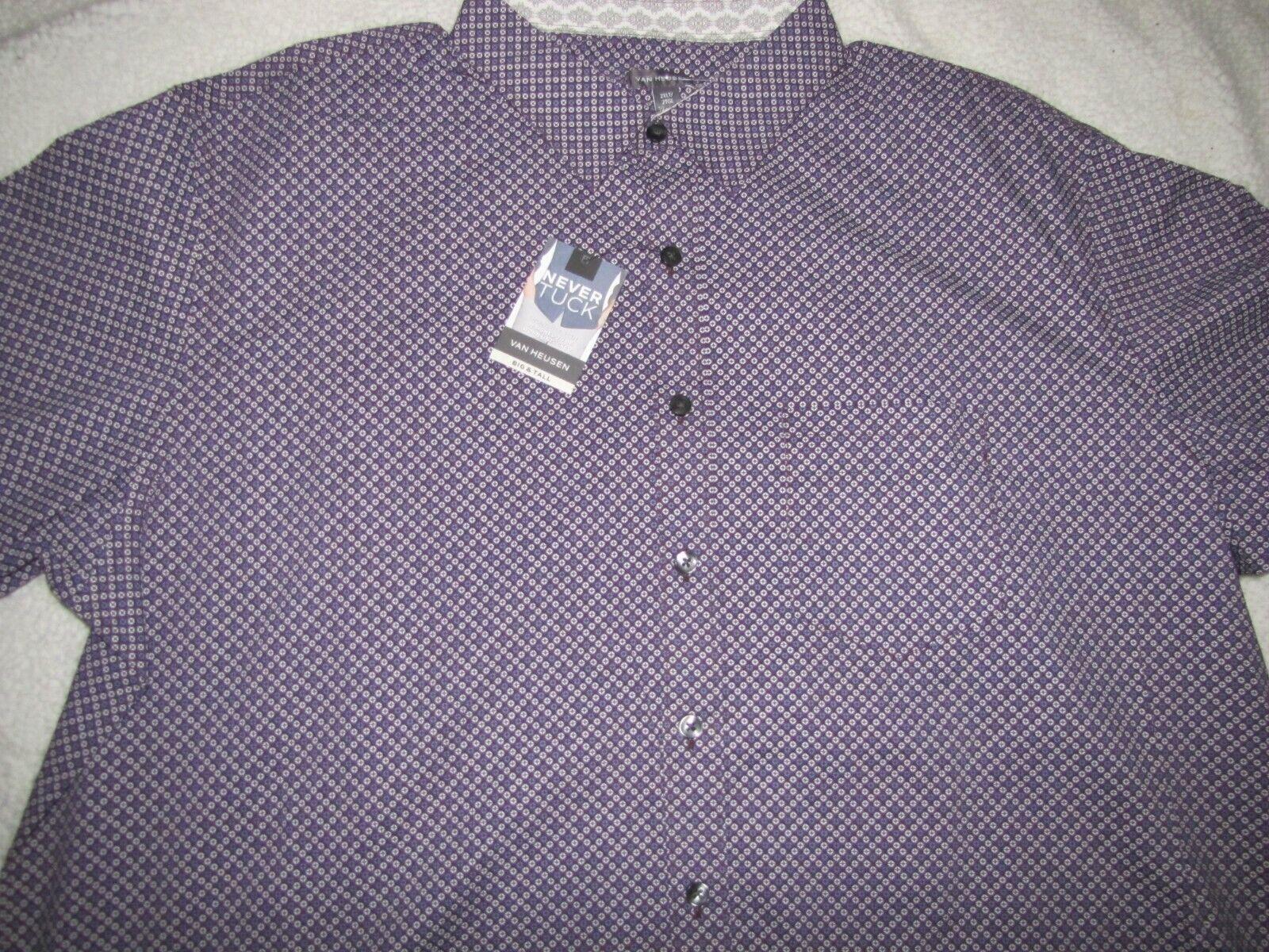 NWT Men's Van Heusen Short Sleeve Never Tuck Dress Shirt 2XL