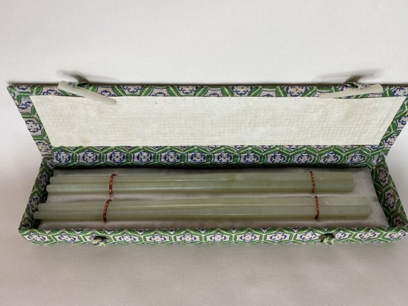 Antique Chiness 2 pair of Jade chopsticks Never Used With Box