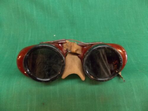 Vtg welder welding brazing goggles Leather nose guard Steampunk craft Green tint