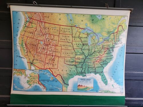 Rand McNally Beginners  United States Map Large Pull Down School Vintage Map
