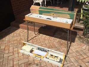 2 old Singer knitting machines with folding table