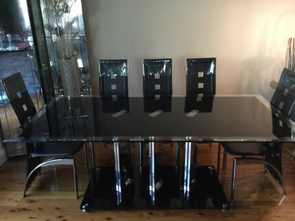 Ten seater black glass dining table and chairs Bexley Rockdale Area Preview