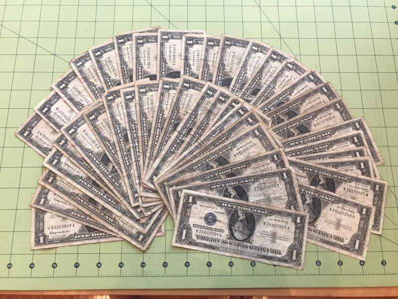 Lot of 44 $1 Silver Certificate Dollar Bills