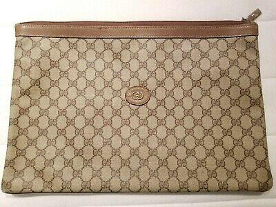 Vintage GUCCI GG envelope portfolio clutch briefcase brown leather authentic