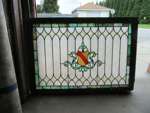 ~ ANTIQUE STAINED GLASS WINDOW COLORFUL ~ 48.75 x 34.25 ~ ARCHITECTURAL SALVAGE