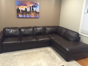 Natuzzi Editions Leather Sectional Sofa with Chaise