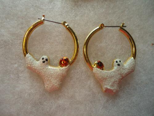 Vintage/nos gold tone enamel glitter Ghost earrings