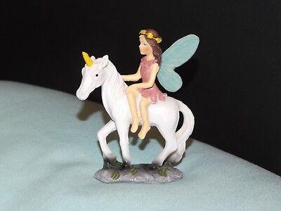 FAIRY in PINK DRESS Blue Wings RIDING WHITE UNICORN Fairy Garden Miniature