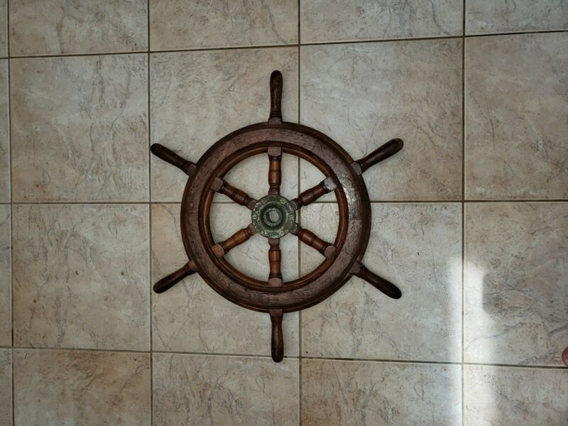 "Antique Nautical Ship's Wheel-24"" In diameter"