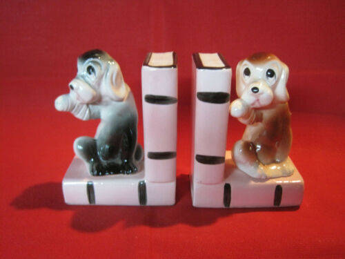 Vintage porcelain puppy dog figurine bookends