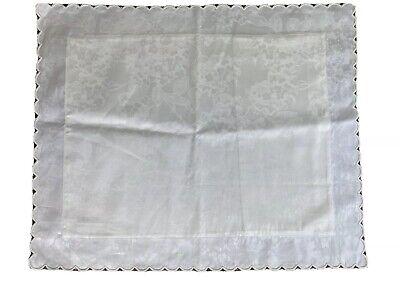 Sferra Bros Egyptian Cotton Ivory Floral Pattern Boudoir Pillow Sham Scallop Hem Ivory Boudoir Pillow