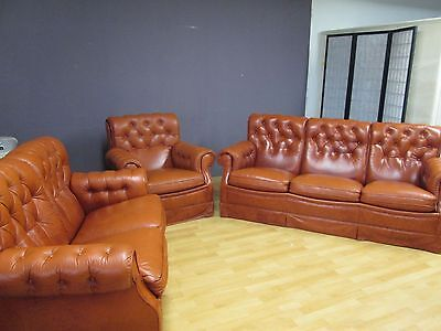Ledercouchgarnitur, echt Leder, Sofagarnitur, Sessel, 2 Sitzer, 3 Sitzer, braun