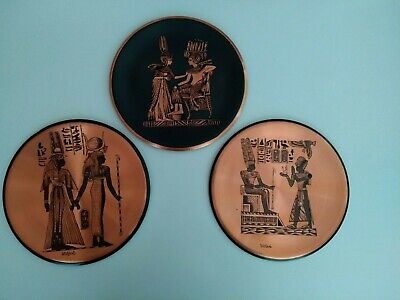 Set of 3 Egyptian Copper Brass Ornamental Plates