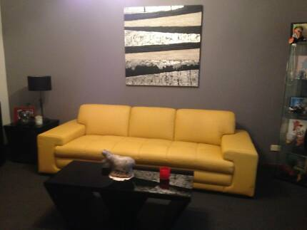 Leather lounge in Mimosa colour from Harvey Norman  as new