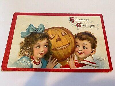 Signed Frances Brundage Vintage Embossed Halloween Postcard Early 1900's. # 120