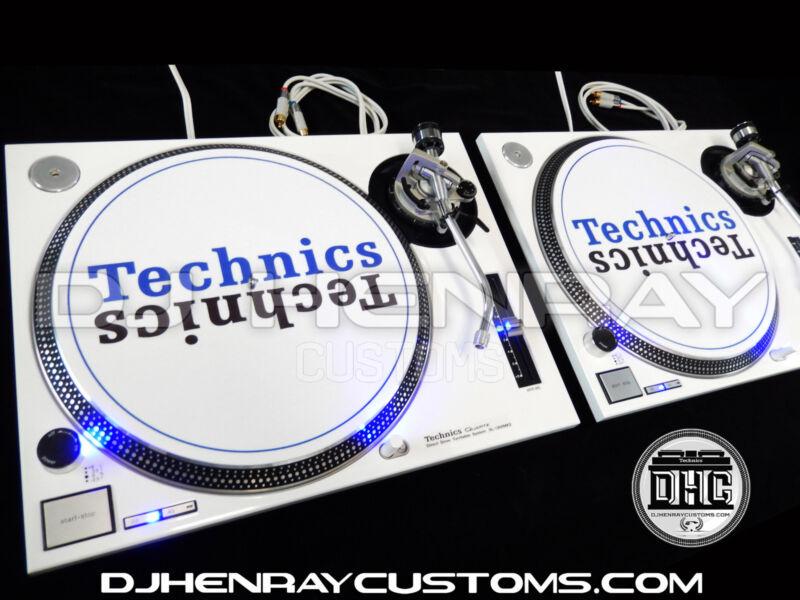 2 custom white powder coated Technics SL1200 mk2 with blue leds dj turntables