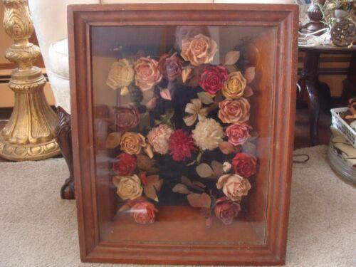 "ANTIQUE Victorian Shadowbox w Paper Roses Flowers Wreath Memorial/Wedding 21x26"""