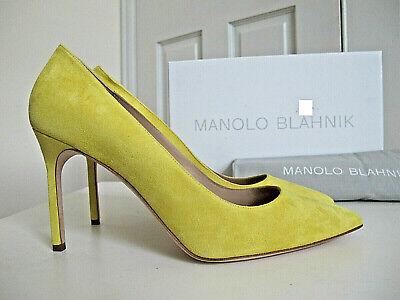 NIB 665 Manolo Blahnik BB 90 Pumps Shoes Heels Lemon Yellow Suede sz 365 6