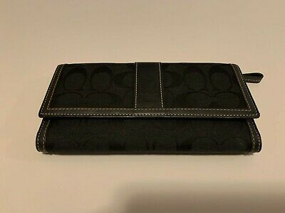 COACH Black Canvas Signature Large Full Size Checkbook Tri-Fold Wallet Large Tri Fold Wallet