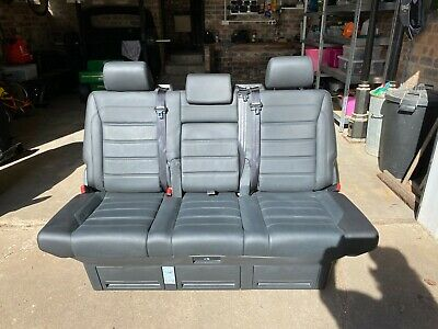 VW Caravelle T6 T5 Black leather on rails rear bench seat and bed