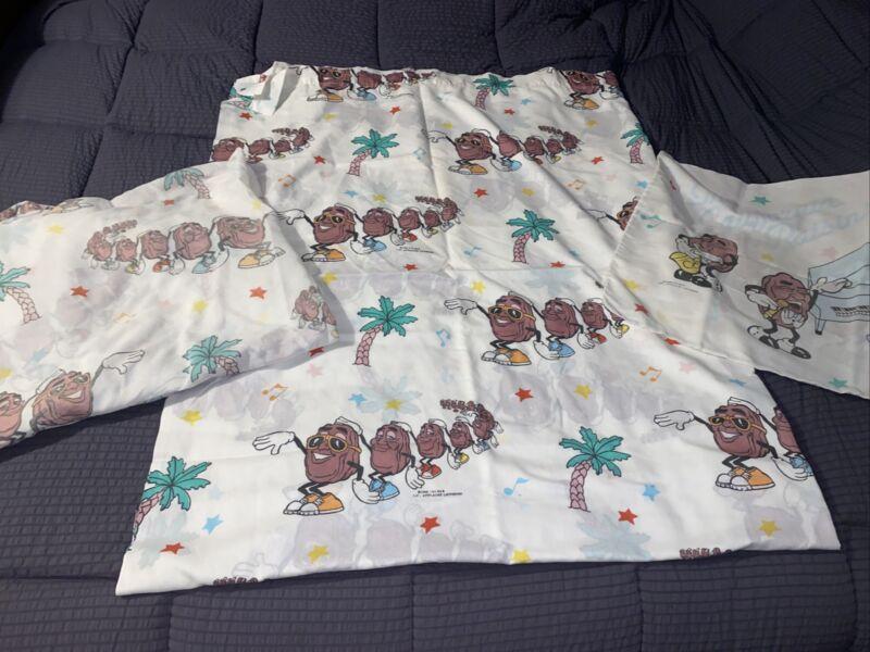 California Raisins Twin Flat Bed Sheet 1988 CALRAB U.S.A. fitted, pillowcase vtg
