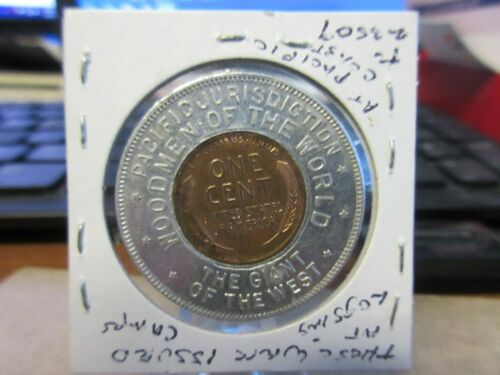 1910 Portland OR / Woodmen of the World  Encased Lincoln Cent 33mm