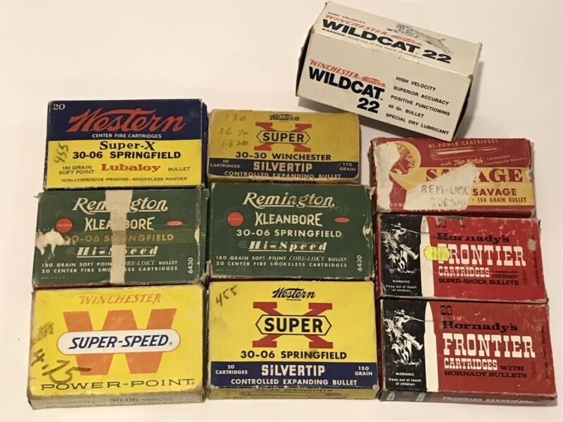 Lot of 10 Vintage EMPTY Ammunition Boxes Remington Savage Frontier Winchester