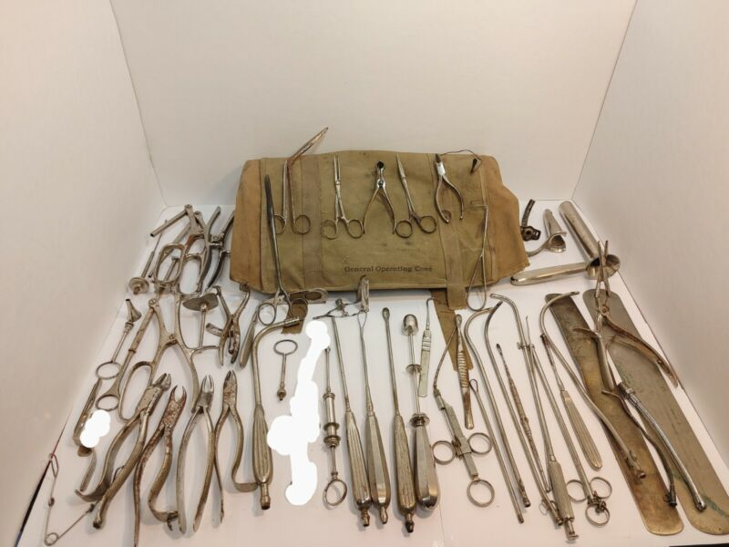 WW1 US Army Field Surgery General Operating Case + lot of Medical tool J. Sklar