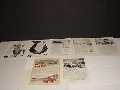 INTERNATIONAL HARVESTER  7 CAR ADS VINTAGE 1930'S, 1950'S ADVERTISING NAT GEO