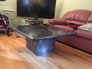 Granite coffee table and round dining set