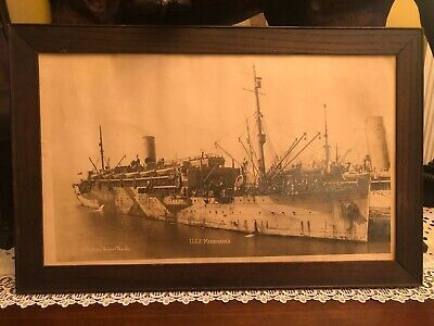Antique WWI Military Navy Photograph of U.S.S. Madawaska w/ Crew Framed Art
