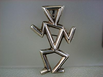 VINTAGE NAVAJO CAST STERLING SILVER ART DECO STYLE FIGURAL PIN NECKLACE PENDANT